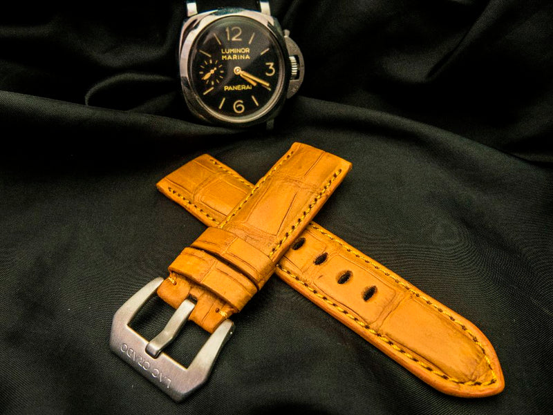 CROCODILE BELLY LEATHER STRAP - ORANGE