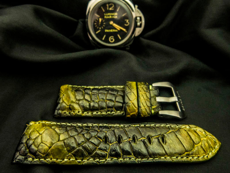 CROCODILE HORNBACK LEATHER STRAP - THE JONQUIL
