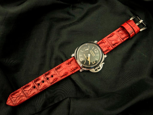 CROCODILE HORNBACK LEATHER STRAP - RED VELVET