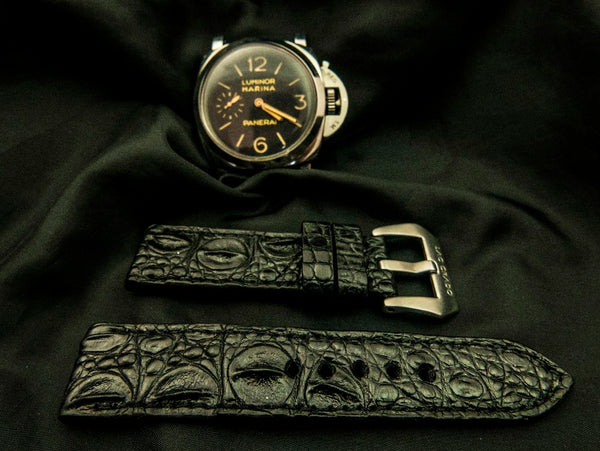 CROCODILE HORNBACK LEATHER STRAP - WENGEN