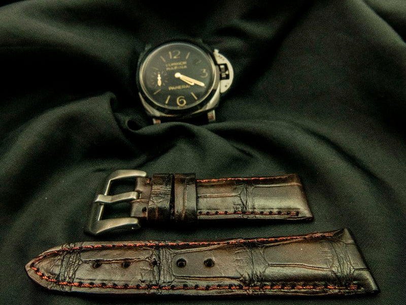 CROCODILE BELLY LEATHER STRAP - CINEREOUS