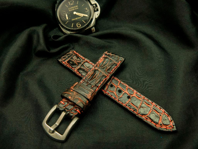 CROCODILE HORNBACK LEATHER STRAP - THE RUSSET