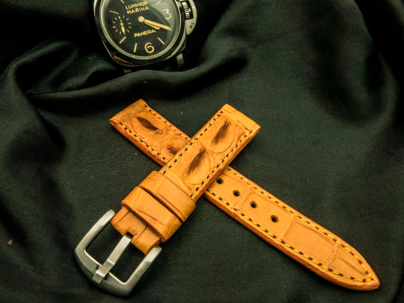 CROCODILE HORNBACK LEATHER STRAP - CONWY