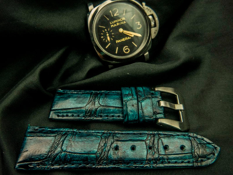 CROCODILE BELLY LEATHER STRAP - IRIS