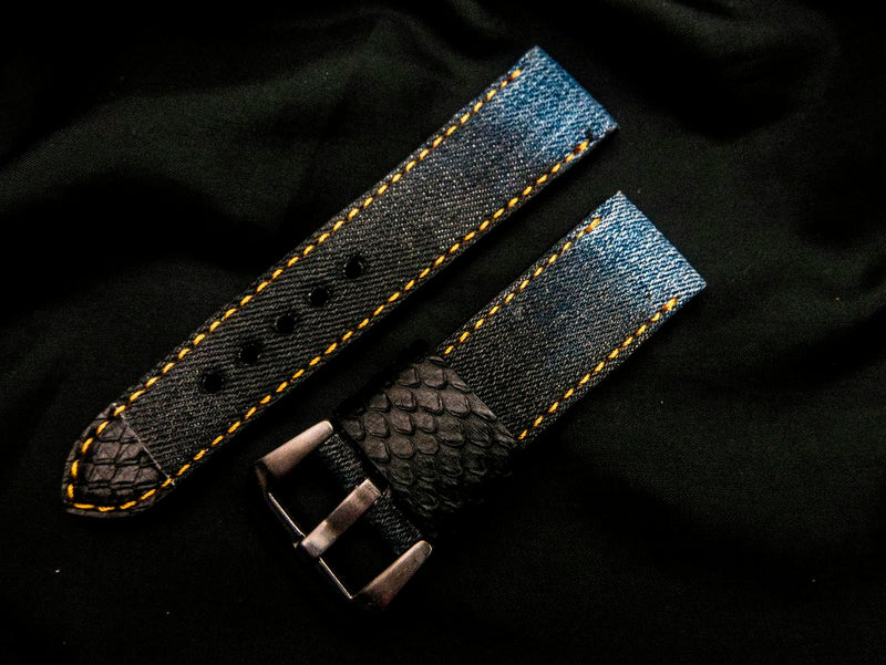 DENIM LEATHER STRAP - THE PALM