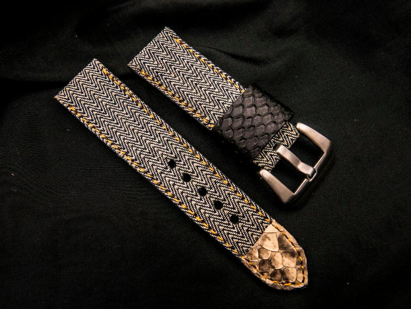 DENIM LEATHER STRAP - BARLEY