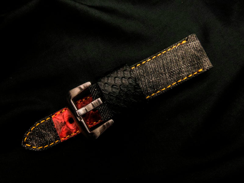 DENIM LEATHER STRAP - PEPPER