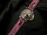 CROCODILE HORNBACK LEATHER STRAP - PURPLE