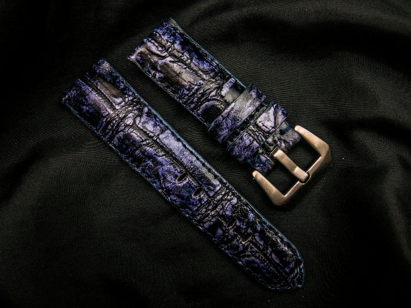 CROCODILE BELLY LEATHER STRAP - BLUE MOUNTAINS