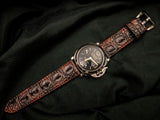 CROCODILE HORNBACK LEATHER STRAP - MARBLE