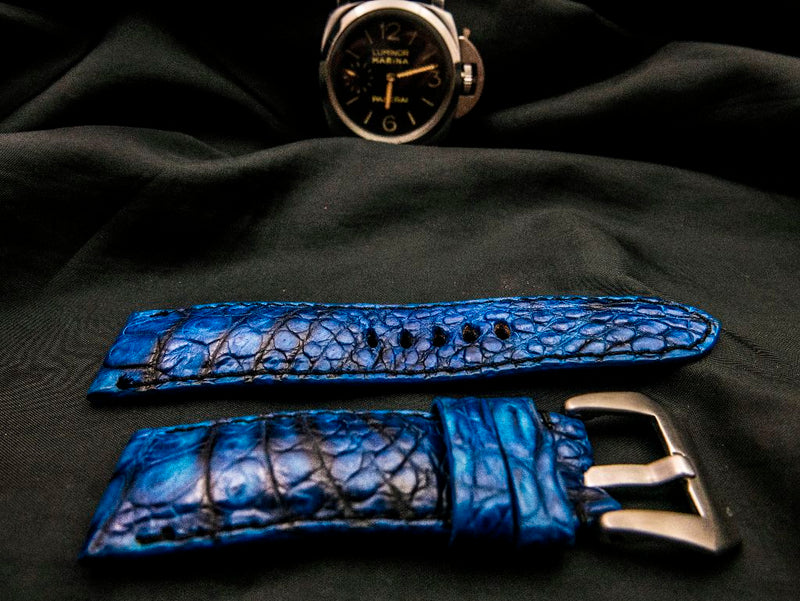 CROCODILE BELLY LEATHER STRAP - THE BLUE DAZE