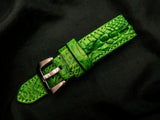 CROCODILE HORNBACK LEATHER STRAP- PEPPERMINT LEAF