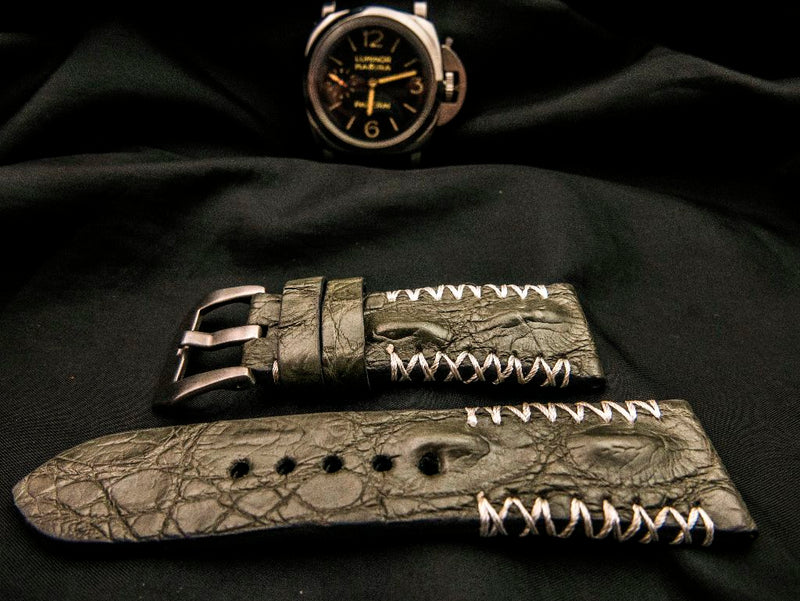 CROCODILE HORNBACK LEATHER STRAP - HILLIE