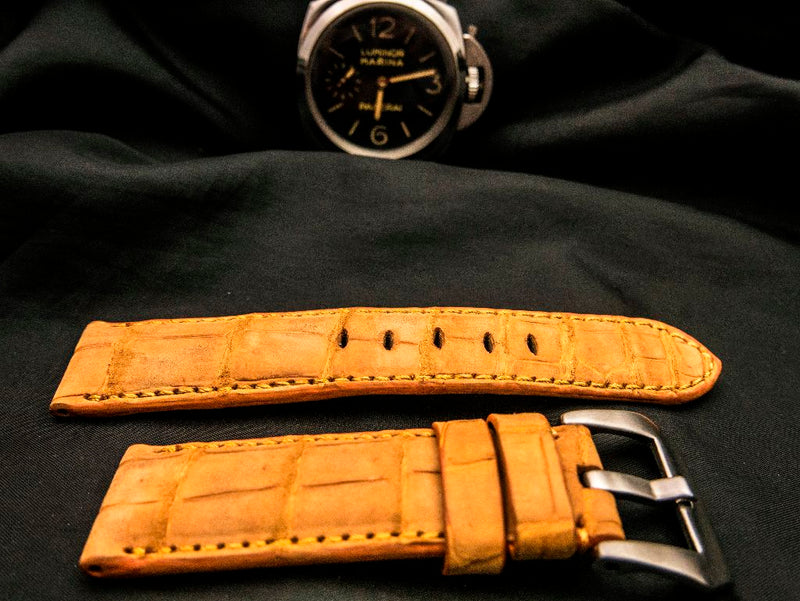 CROCODILE BELLY LEATHER STRAP - SUNSET