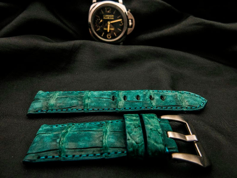 CROCODILE BELLY LEATHER STRAP - KELLY GREEN