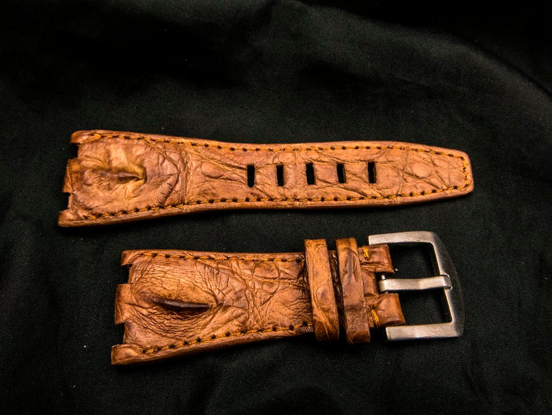 CROCODILE LEATHER STRAP - ROSE GOLD