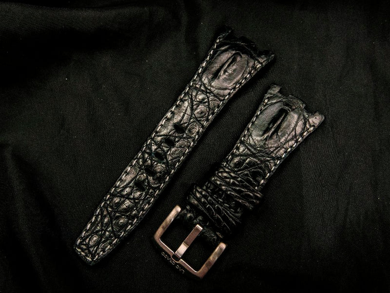 CROCODILE LEATHER STRAP - DARK SKY