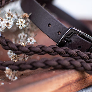 Brown Biothane Native Collar with Brown Paracord Lead with gunmetal hardwear by Native Collars (5104059941004)