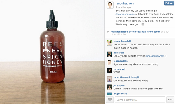Jason Hudson Instagram Bees Knees Spicy Honey