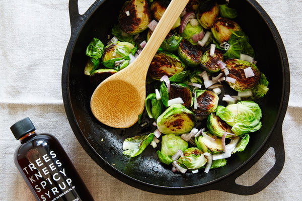 Trees Knees Spicy Syrup Sautéed Brussel Sprouts