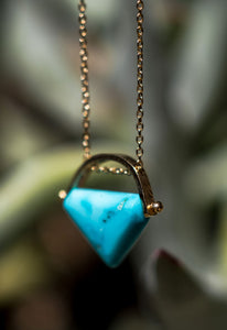 Sleeping Beauty Turquoise and 14K Gold Necklace