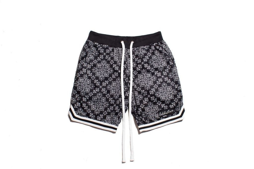 "Addictive ""Black Paisley"" Mesh Shorts"