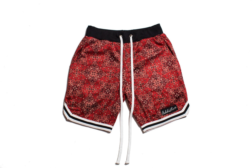 "Addictive ""Red Paisley "" Mesh Shorts"