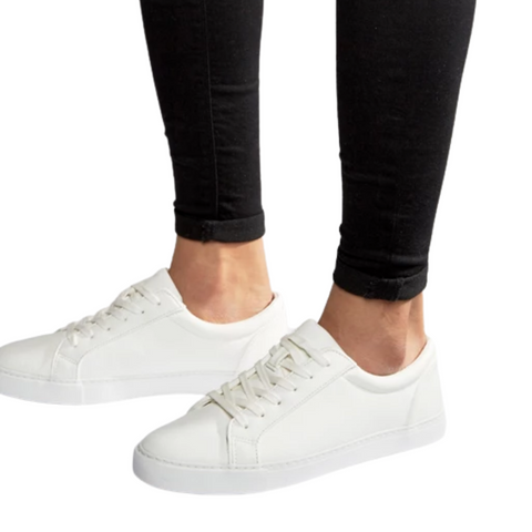 white classic lace up sneakers