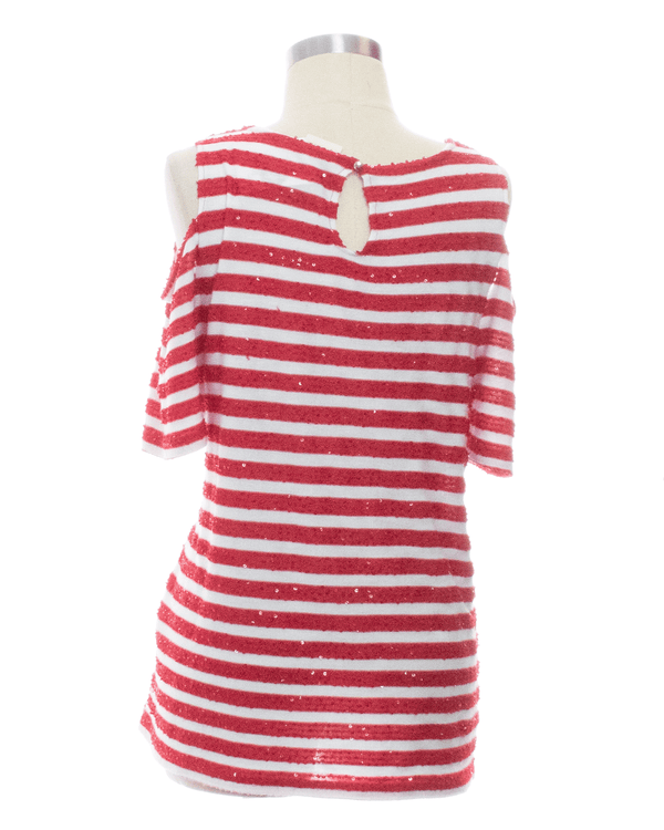 Size 2 Red Print Short Sleeve Top