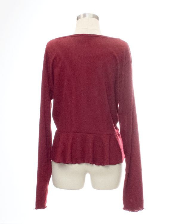Nastly Gal Size 16 Burgundy Long Sleeve Top