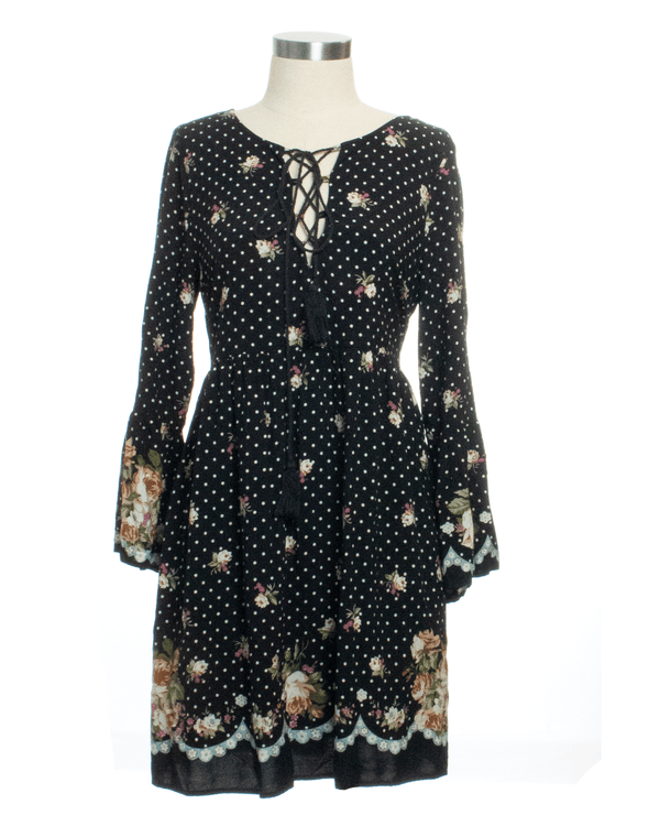 Entro Size L Black Print Dress