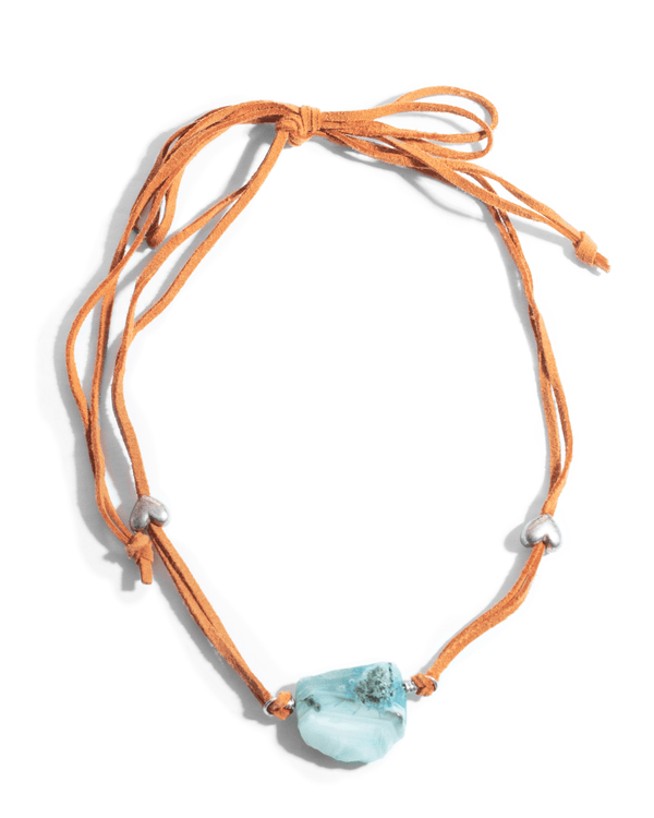 Blue Crystal With Orange Leather Cord Fashion Necklace