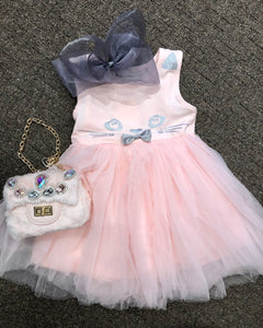 Pink kitty tulle dress