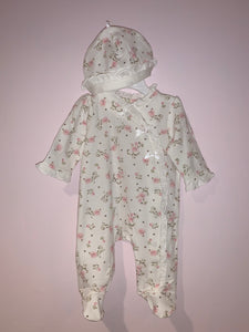 Rose Ruffle Footie With Beanie by Little Me