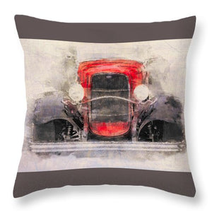 1932 Ford Roadster Red And Black - Throw Pillow