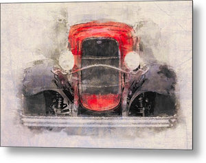 1932 Ford Roadster Red And Black - Metal Print