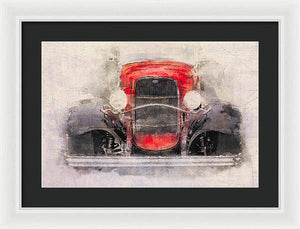 1932 Ford Roadster Red And Black - Framed Print