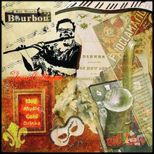"Load image into Gallery viewer, MIXED MEDIA PAINTING (BOURBON STREET COLLAGE) 24""x24"""