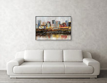 "Load image into Gallery viewer, 24""x36"" MIXED MEDIA PAINTING (COLORFUL EDMONTON SKYLINE)"