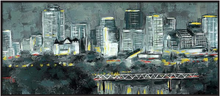 "Load image into Gallery viewer, MIXED MEDIA PAINTING (MONOTONE EDMONTON SKYLINE) 20""x39"""
