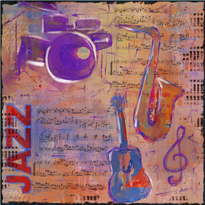 "MIXED MEDIA COLLAGE PAINTING (JAZZ) 24""x24"""