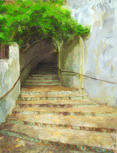 "Signed Fine Art Giclee Print (Steps to La Villita) 24""x36"""