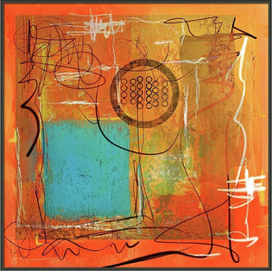 "MIXED MEDIA ABSTRACT PAINTING (THEORY OF ORANGE) 12""x12"""