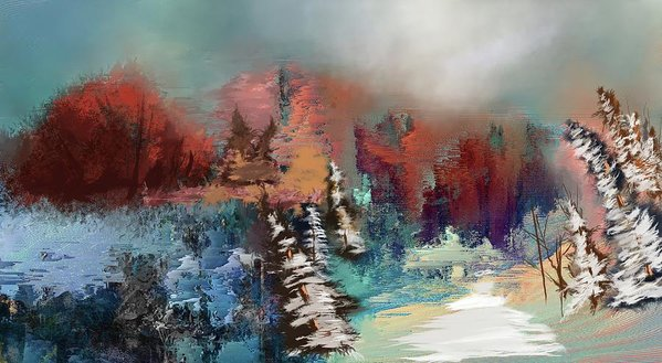 Abstract Fall Landscape Painting - Art Print