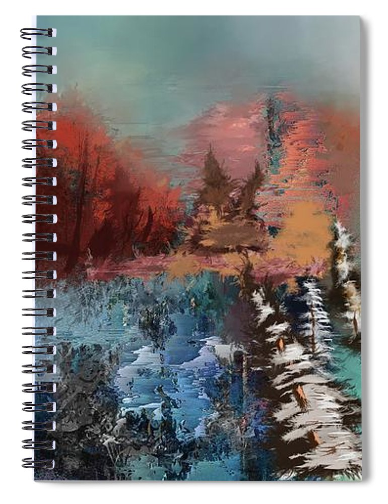 Abstract Fall Landscape Painting - Spiral Notebook