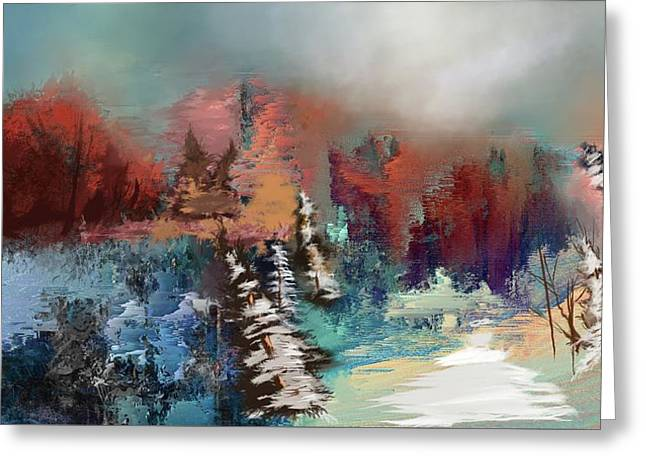 Abstract Fall Landscape Painting - Greeting Card