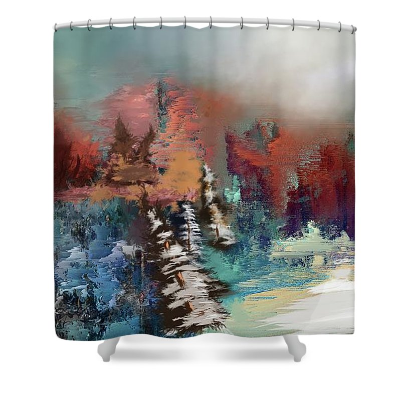 Abstract Fall Landscape Painting - Shower Curtain