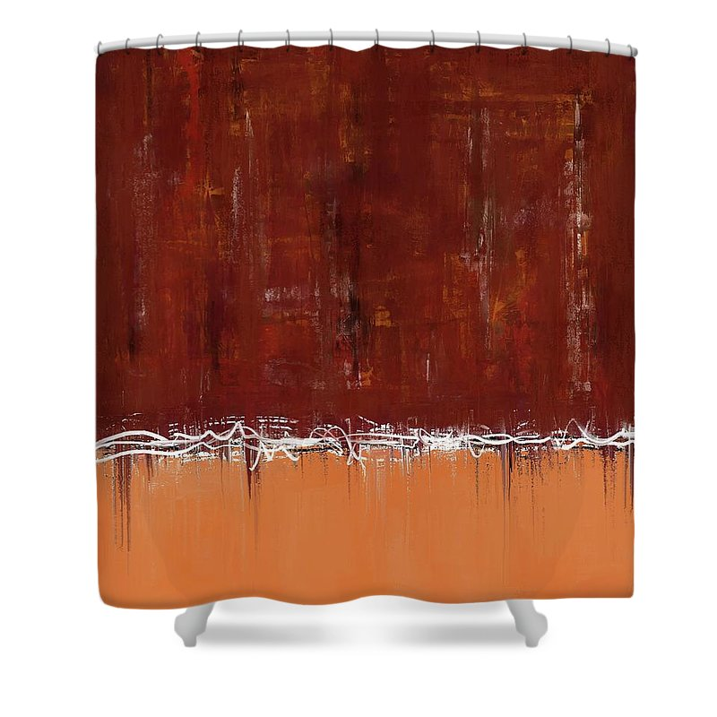 Copper Field Abstract Painting - Shower Curtain