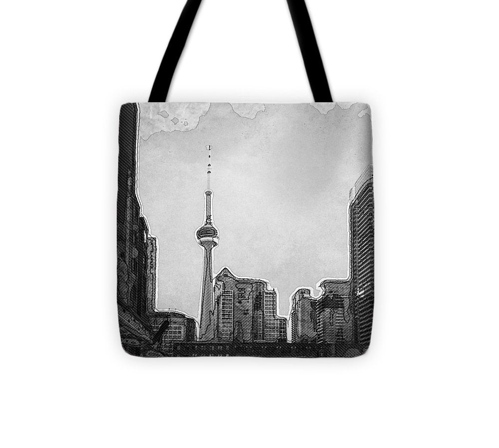 Downtown Toronto in BW - Tote Bag