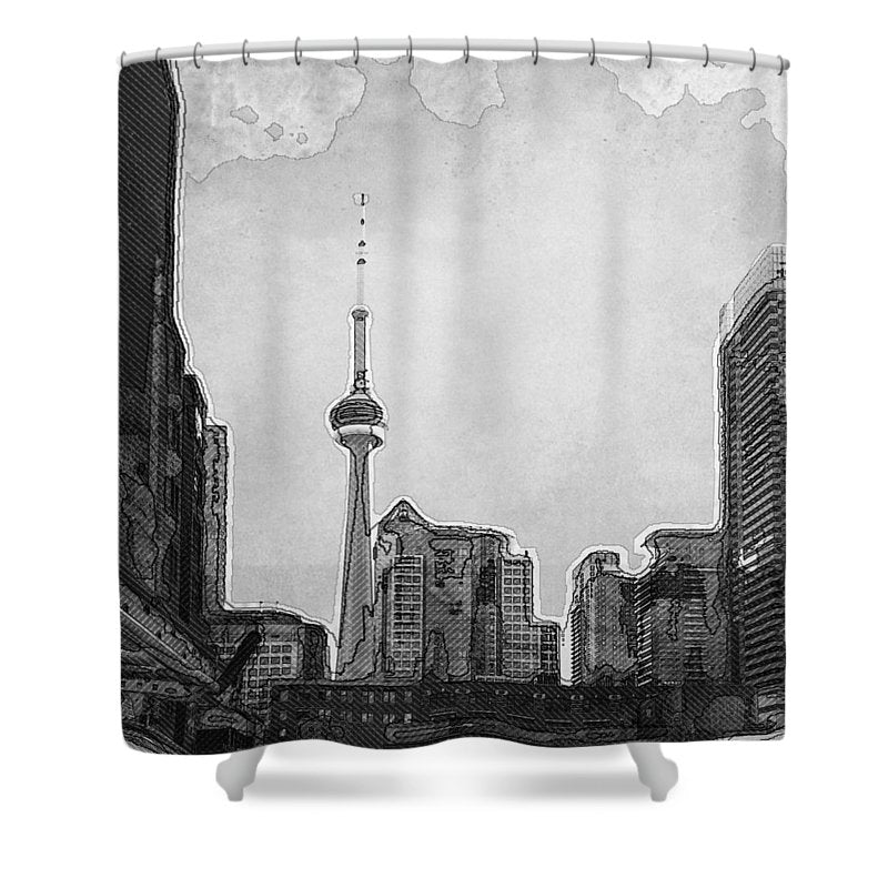 Downtown Toronto in BW - Shower Curtain